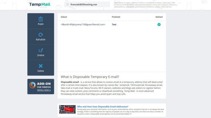 Dočasný email Temp-mail.org.