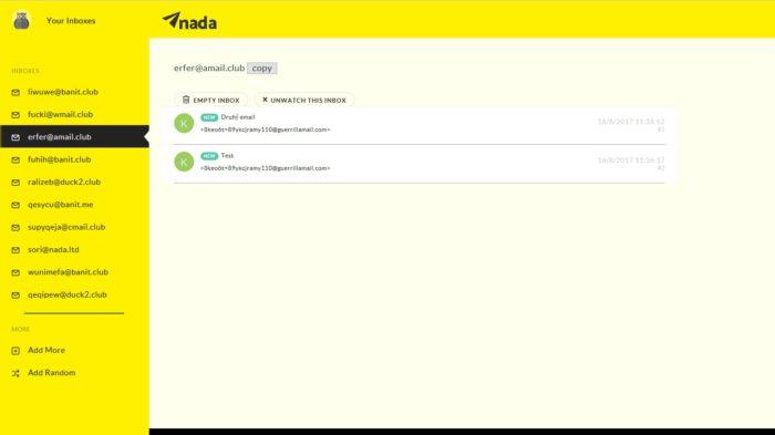 Getnada.com zvládne až 10 dočasných emailů najednou.