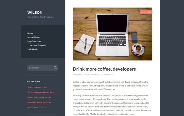 WordPress Wilson od Anders Noren
