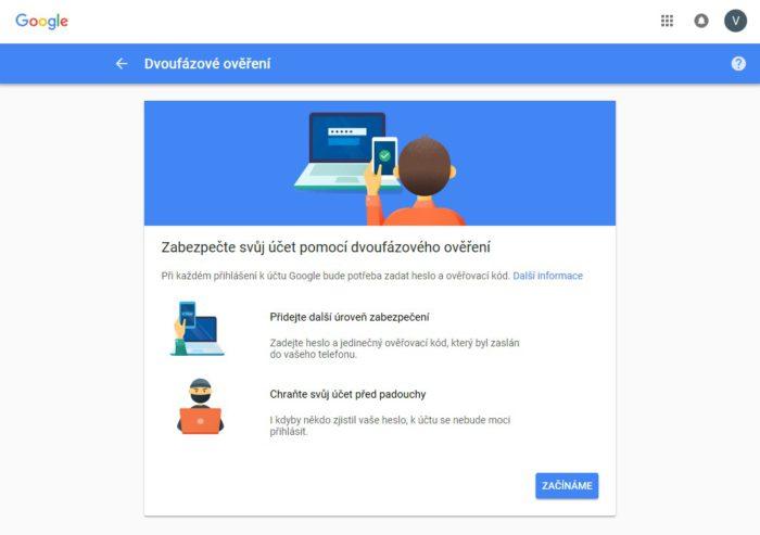 Dvoufázové ověření při příhlášení na Gmail.