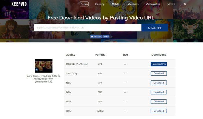 Keepvid.com je spohlelivá a jendoduchá služba na stahování videí z Youtube.