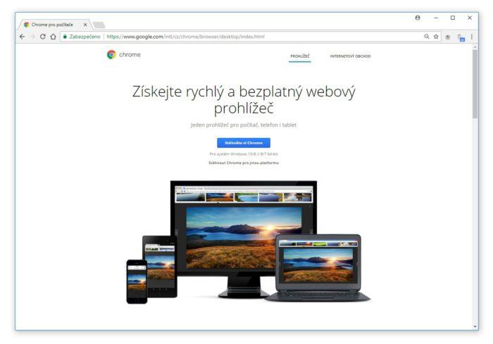 Google Chrome prohlížeč zdarma v češtině.
