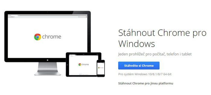 Prohlížeč Google Chrome ke stažení.