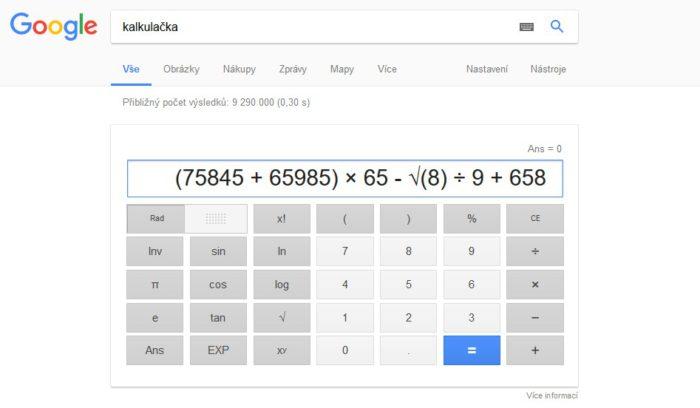 Hacky Google vyhledávání - přehledná kalkulačka.