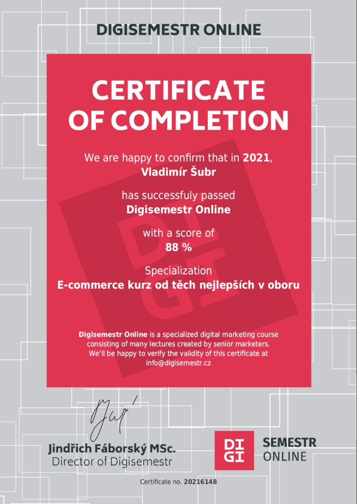 Certifikát Digisemestr Šubr